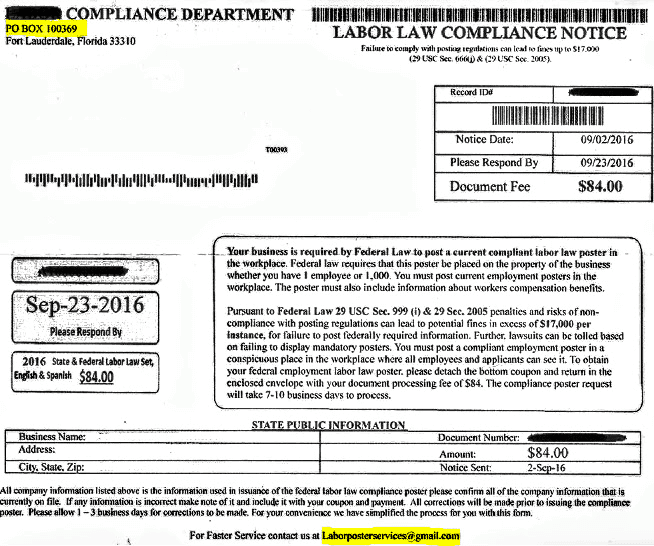 Labor Compliance Department. Labor Law Compliance Notice used as marketing.