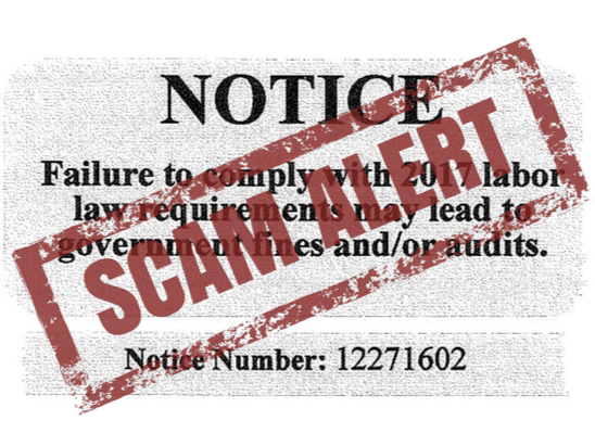 Labor Compliance Services. Business Compliance Department Notice. Labor law scam alert.