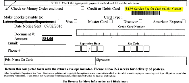 Labor Compliance Department payment form. Credit/debit card service fee up-charge.