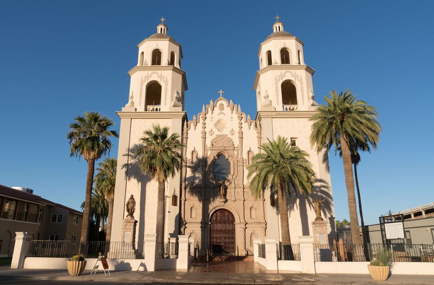 TUCSON, AZ - OCTOBER 26, 2017 Beautiful exterior of the historic St Augustine Cathedral in Tucson, Arizona